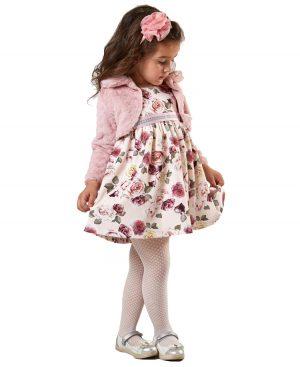 Φλοράλ φόρεμα λούτρινο μπολερό 9226 ebita
