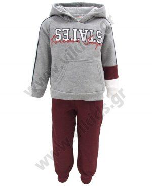 Σετ φόρμες φούτερ με κουκούλα STATES 93208 γκρι. Για αγόρια, σε μεγέθη 0 - 5