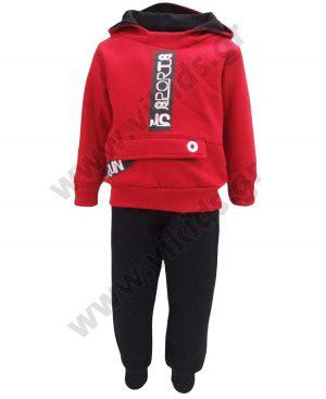 φόρμες φούτερ κουκούλα run 93209 κόκκινο