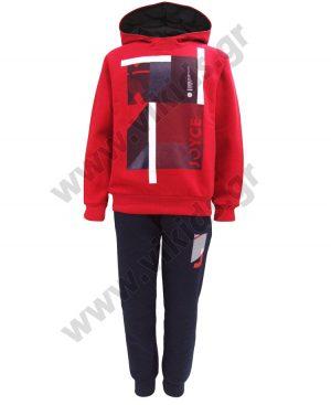 φόρμες φούτερ κουκούλα minimal 93671 κόκκινο