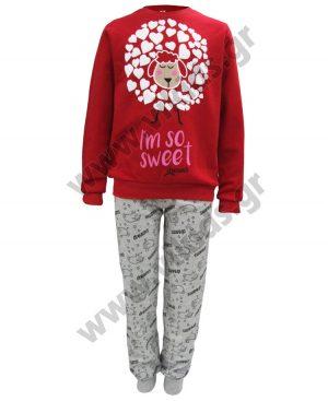 σετ πυτζάμες κορίτσια SWEET 19903 κόκκινο