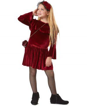 Μακρυμάνικο βελουτέ φόρεμα τσαντάκι 9004 EBITA