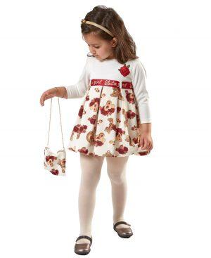 εμπριμέ μακρυμάνικο φόρεμα τσαντάκι ebita 9224