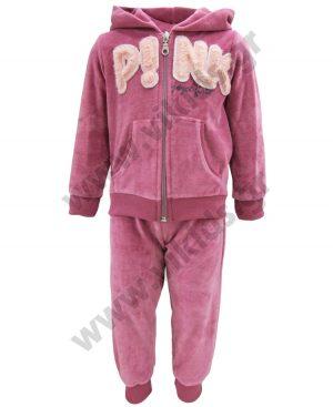 βελουτέ παντελόνι ζακέτα κουκούλα PINK 94221