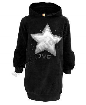 φόρεμα βελουτέ κουκούλα STAR 94805 μαύρο