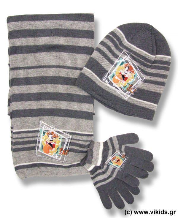 Σετ σκουφί κασκόλ γάντια Taz 4151