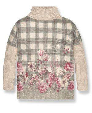 πλεκτό πουλόβερ καρώ φλοράρ 7310 κορίτσια