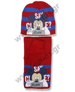 σκουφί κασκόλ γάντια MICKEY 4277 κόκκινο