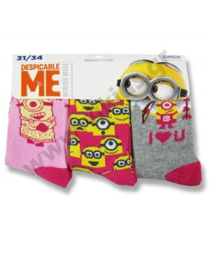 3 ζευγάρια κάλτσες minions 47401 κορίτσια