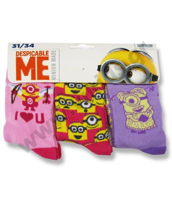 3 ζευγάρια κάλτσες minions 47402 κορίτσια