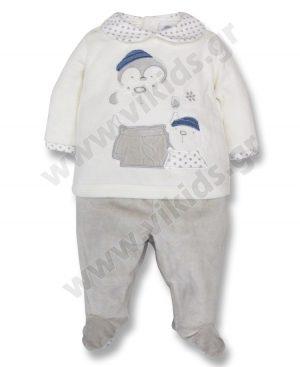 Βελουτέ σετ 59018 της Birba με όμορφο απλικάρισμα POLAR FRIENDS στην μπλούζα. Για αγόρια 0 - 12 μηνών