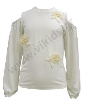 μακρυμάνικη μπλούζα απλικέ λουλούδια 6223 κορίτσια