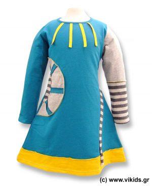 Φόρεμα φούτερ patchwork 4517 OUTLET