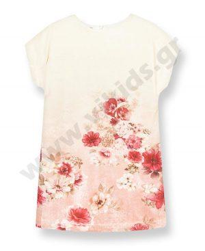 Βελουτέ κοντομάνικο φόρεμα mayoral 7930 ροζ