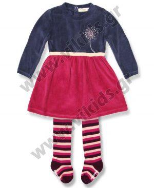 βελουτέ φόρεμα ριγέ καλσόν Babybol 27114
