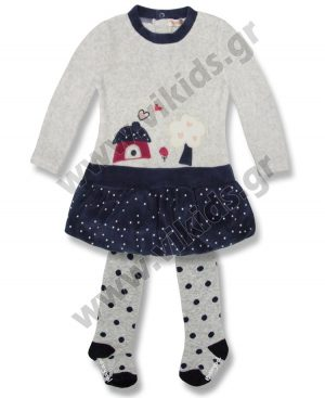 βελουτέ φόρεμα πουά καλσόν Babybol 27115