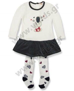 βελουτέ φόρεμα καλσόν καρδιές Babybol 27116