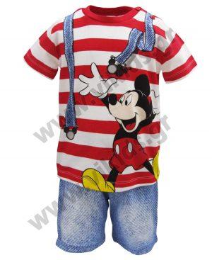 Βαμβακερό ριγέ σετ Mickey Mouse 46475 κόκκινο