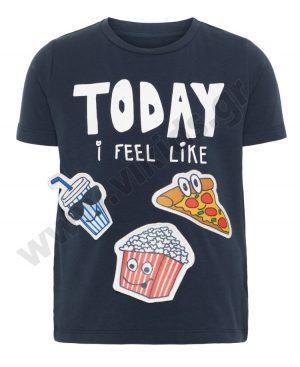 Κοντομάνικο T-Shirt nameit με αφαιρούμενα σχέδια 3477 μπλε