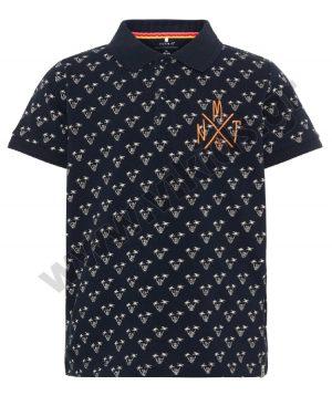 Κοντομάνικη εμπριμέ μπλούζα polo nameit 5803 μπλε