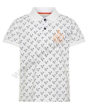Κοντομάνικη εμπριμέ μπλούζα polo nameit 5803 λευκό