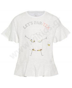 Κοντομάνικο T-Shirt για κορίτσια nameit 1264 λευκό