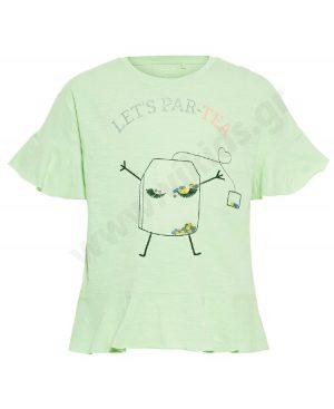 Κοντομάνικο T-Shirt για κορίτσια nameit 1264 βεραμάν