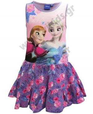 Αμάνικο βαμβακερό φόρεμα FROZEN Elsa και Anna14222