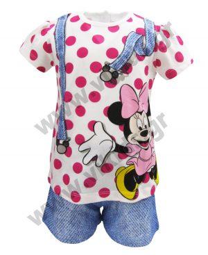 Βαμβακερό πουά σετ Minnie Mouse 46520 φούξια