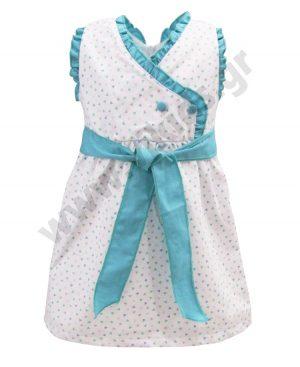 Βρεφικό κρουαζέ φόρεμα με πετρόλ ζώνη 37362