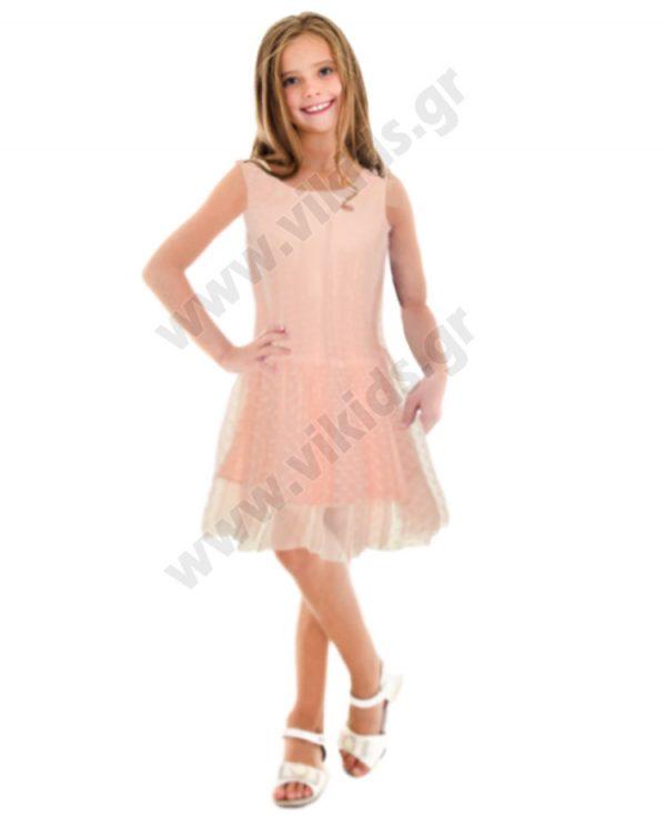 Αμάνικο φόρεμα με τούλι nameit 4633 παλ ροζ