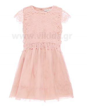 Φόρεμα με δαντέλα και τούλι nameit 4673 ροζ