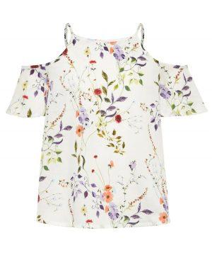 Φλοράλ μπλούζα με ράντες και παρτούς ώμους nameit 7322