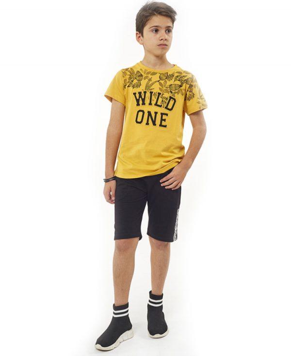 Σετ tshirt WILD ONE και βερμούδα Hashtag 2701