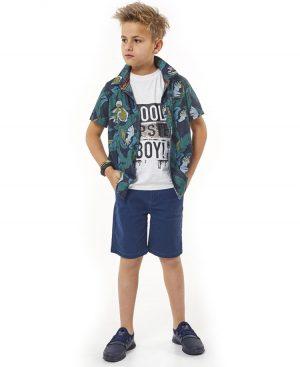 Σετ πουκάμισο t-shirt με παγιέτες και βερμούδα 2740 Hashtag