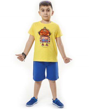 Σετ κοντομάνικη μπλούζα ROBOT και σορτσάκι Hashtag 2802