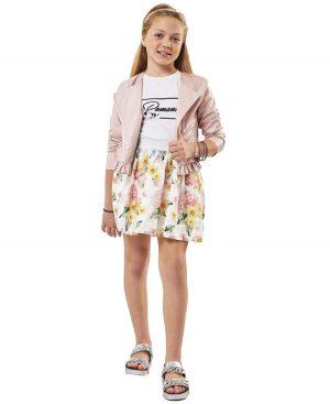 Σετ μπουφάν μπλούζα και ντεβορέ φλοράλ φούστα ebita 2010