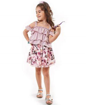 Σετ φλοράλ φούστα και μπλούζα με βολάν ebita 2215