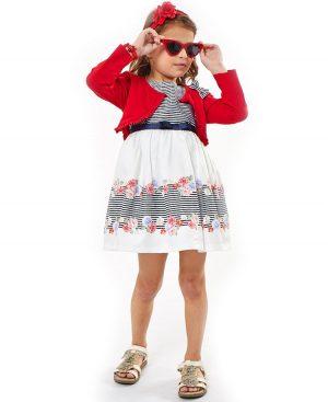 Σετ με αμάνικο ριγέ φόρεμα και μπολερό ebita 2228