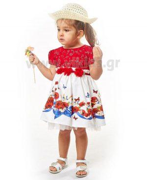 Βρεφικό φόρεμα με λουλούδια και καπέλο ebita 2505
