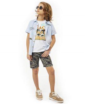 Σετ ριγέ πουκάμισο tshirt και βερμούδα παραλλαγής 2741