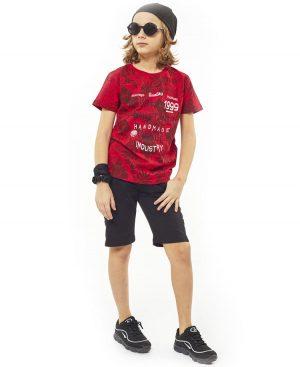 Σετ εμπριμέ t-shirt και βερμούδα Hashtag 2767