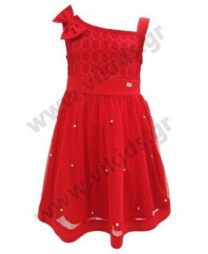 Αμάνικο κόκκινο φόρεμα με φιόγκο 2007 ebita