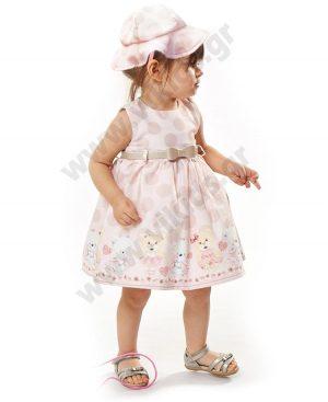 Βρεφικό αμάνικο πουά φόρεμα με ζώνη και καπέλο ebita 2502