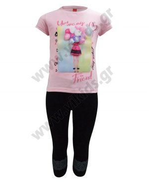 Σετ t-shirt ΜΠΑΛΟΝΙΑ και κολάν κάπρι 201331 ροζ