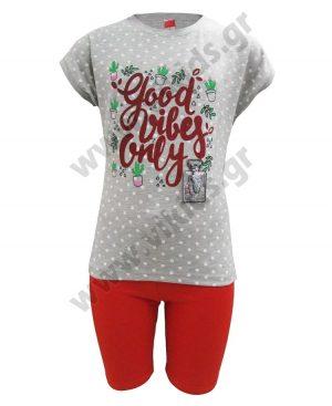 Σετ πουά t-shirt GOOD VIBES και ποδηλατικό κολάν 201341 γκρι