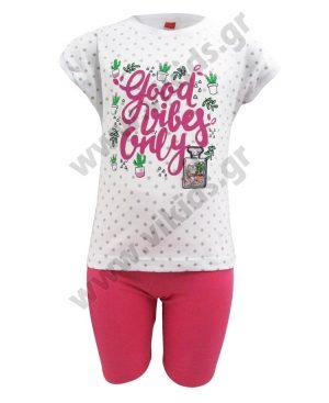 Σετ πουά t-shirt GOOD VIBES και ποδηλατικό κολάν 201341 λευκό