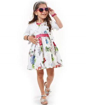 Σετ φλοράλ φόρεμα με ζώνη και λευκή ζακέτα ebita 2212
