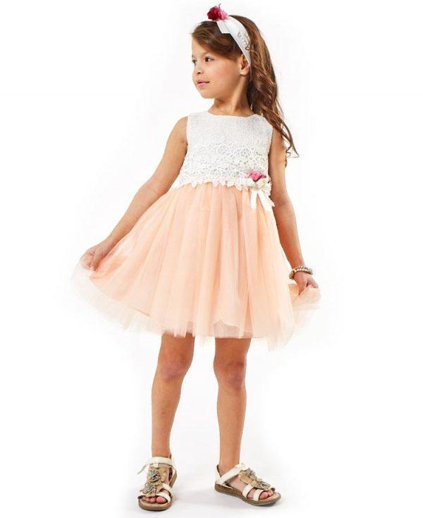 Αμάνικο φόρεμα δαντέλα με τούλι και κορδέλα ebita 2261