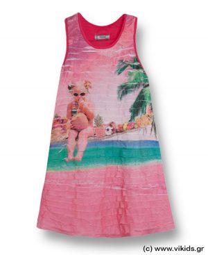 Φόρεμα με σταμπωτά βολάν mayoral 3997 φούξια